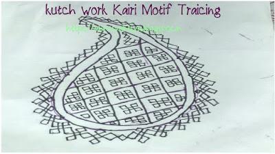 tracing of kutch work kairi motif