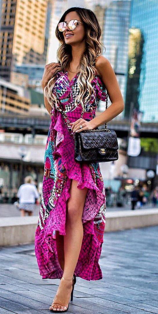 beautiful outfit idea: maxi dress + heels + bag
