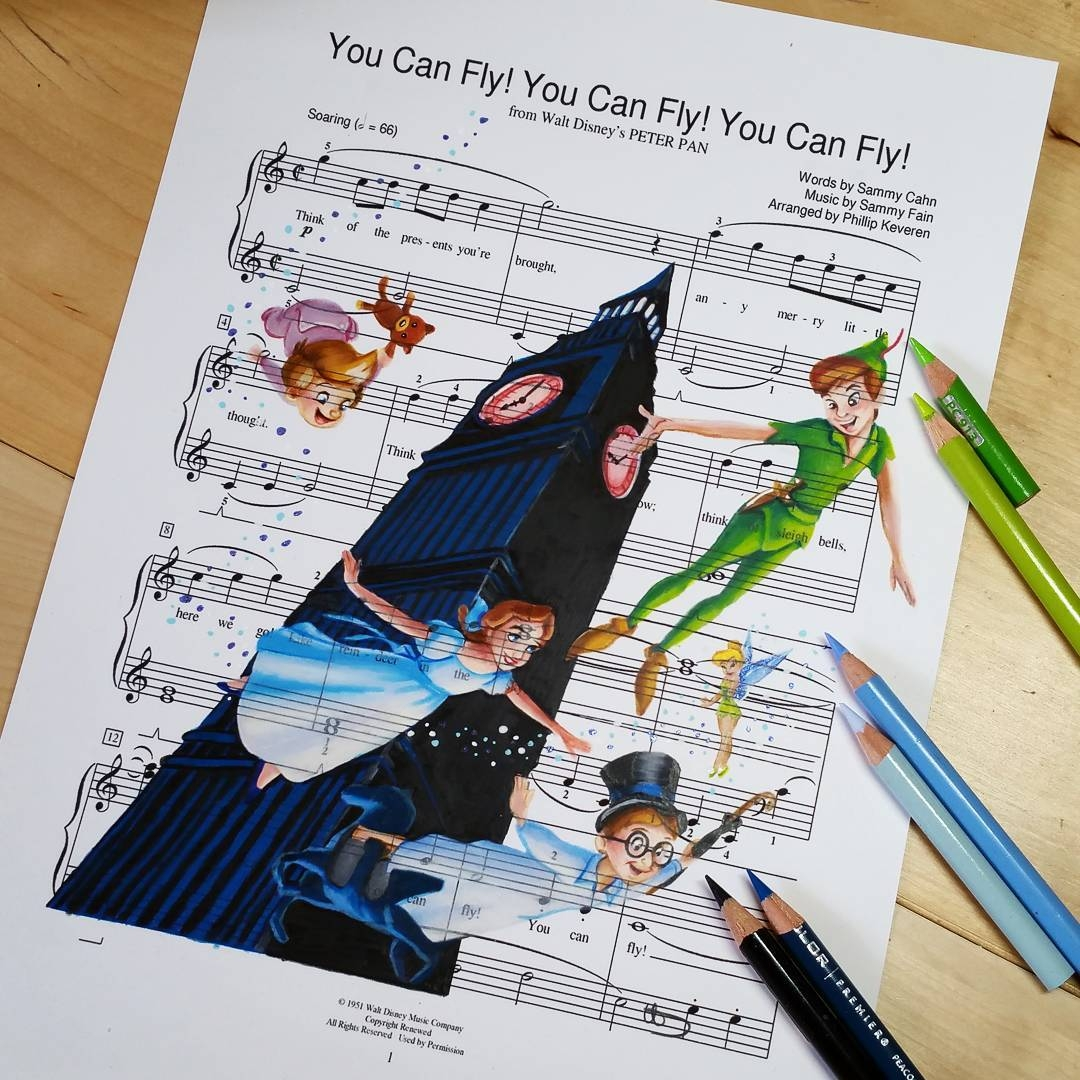 11-Peter-Pan-Ursula-Doughty-Animated-Movies-Drawn-on-their-Music-Scores-www-designstack-co