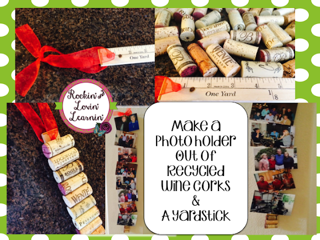 Make a photo holder out of recycled wine corks