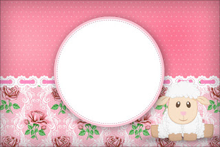 Lamb in Shabby Chic: Free Printable Invitations.