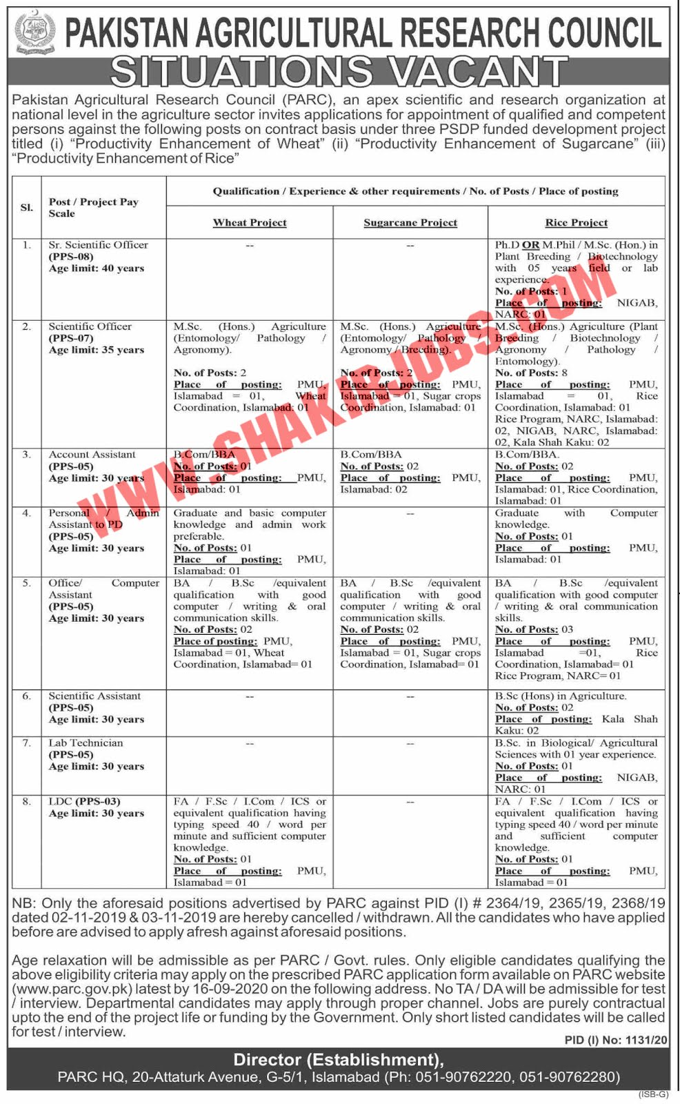 Jobs in Pakistan Agricultural Research Council PARC Jobs September 2020