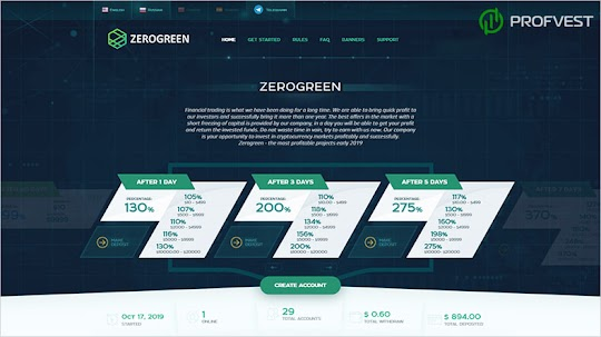 Рестарт ZeroGreen: обзор и отзывы о zerogreen.net (HYIP платит)