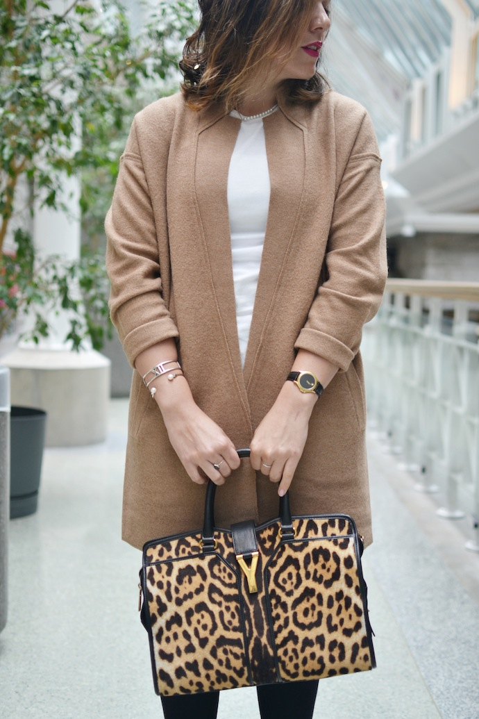 Frye Phillips Chelsea Boots Lord and Taylor Camel Merino Wool cardigan coat leopard YSL Cabas Chyc bag