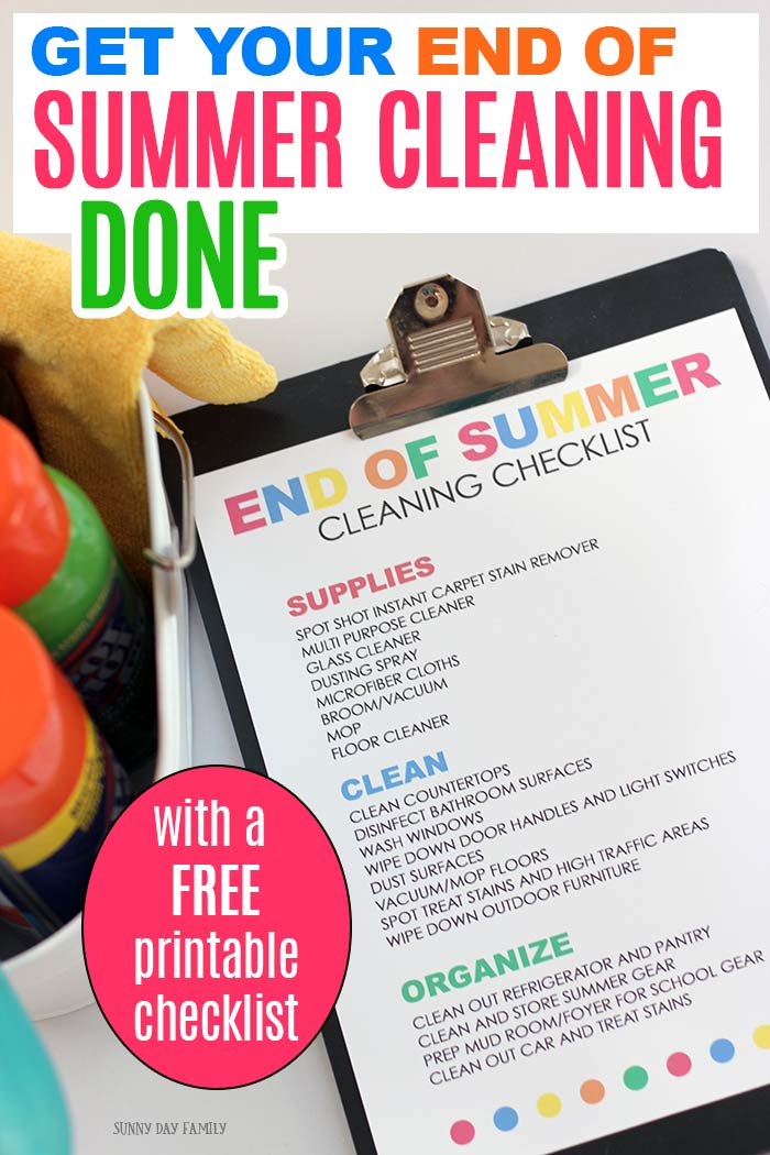 Get ready for back to school with a free printable end of summer cleaning checklist for your home. Cleaning tips to get your home ready for fall! #ad #cleaning #cleaningtips #cleanhome