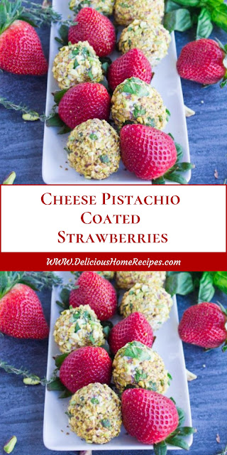 Cheese Pistachio Coated Strawberries