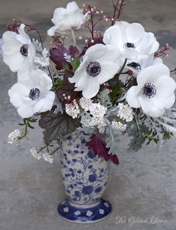 Black and White Anemone Arrangement- www.gildedbloom.com