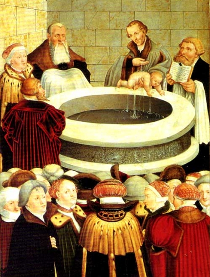 Cranach the Younger: Melanchthon Baptizing a Baby