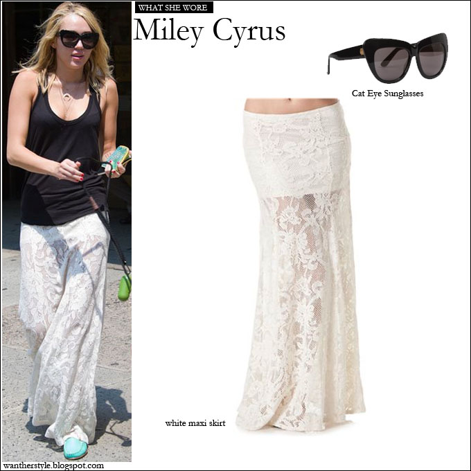 WHO  Miley Cyrus while walking her dog. WHAT SHE WORE  gorgeous white lace  maxi Billabong skirt and House of Harlow Cat Eye Sunglasses 3896fbc3d