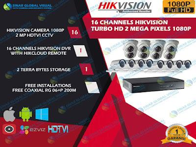Paket Pasang 16 Kamera HIKVISION 1080P