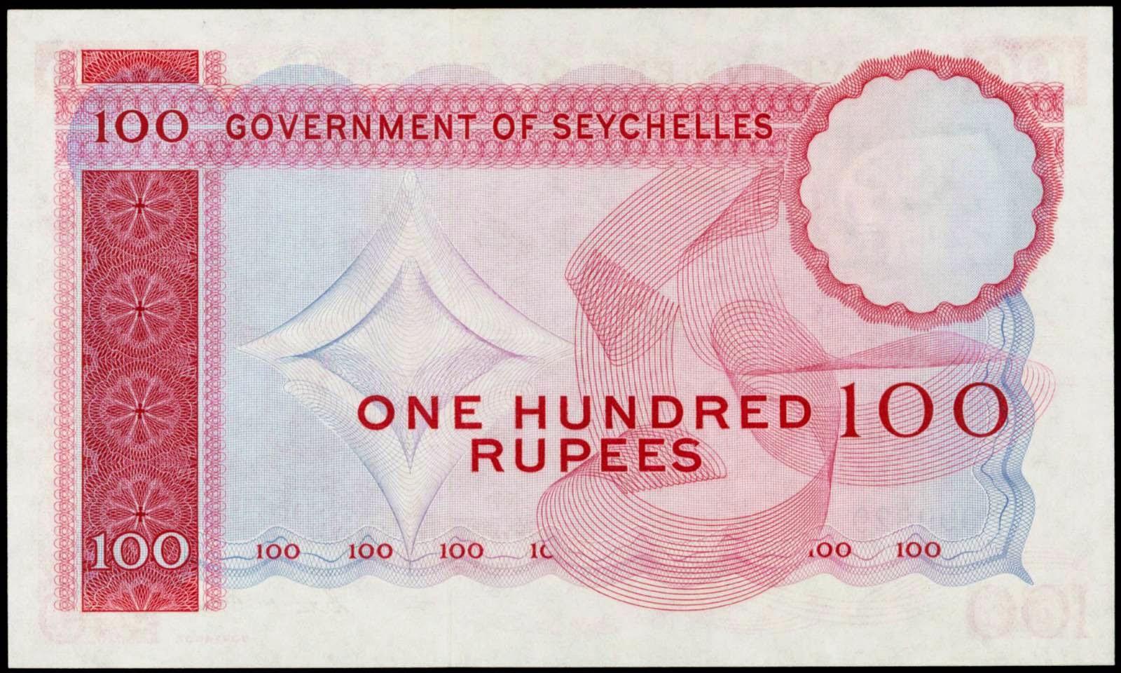 Seychelles paper money One Hundred Rupees