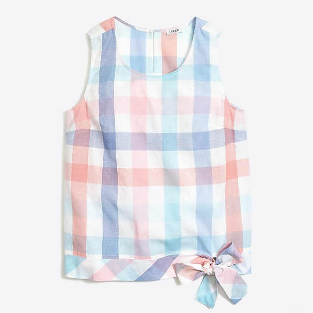 J Crew Gingham side-tie shell