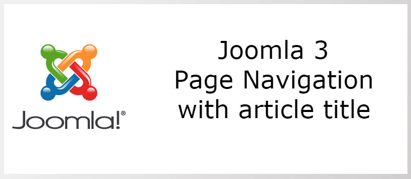 Joomla 3 - Page Navigation With Titles