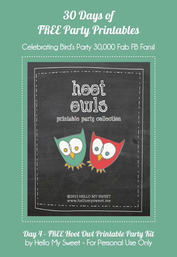 Free Printable Hoot Owls Printable Party Kit - via BirdsParty.com
