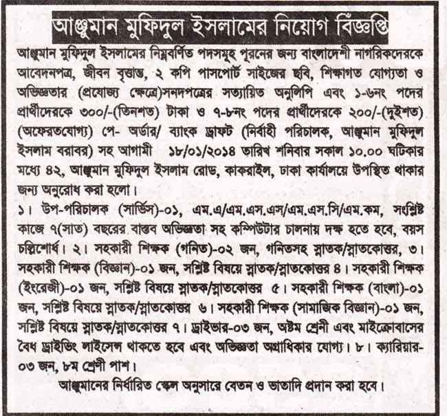 Jobs Barta: Anjuman Mofidul Islam Bangladesh Jobs Circular