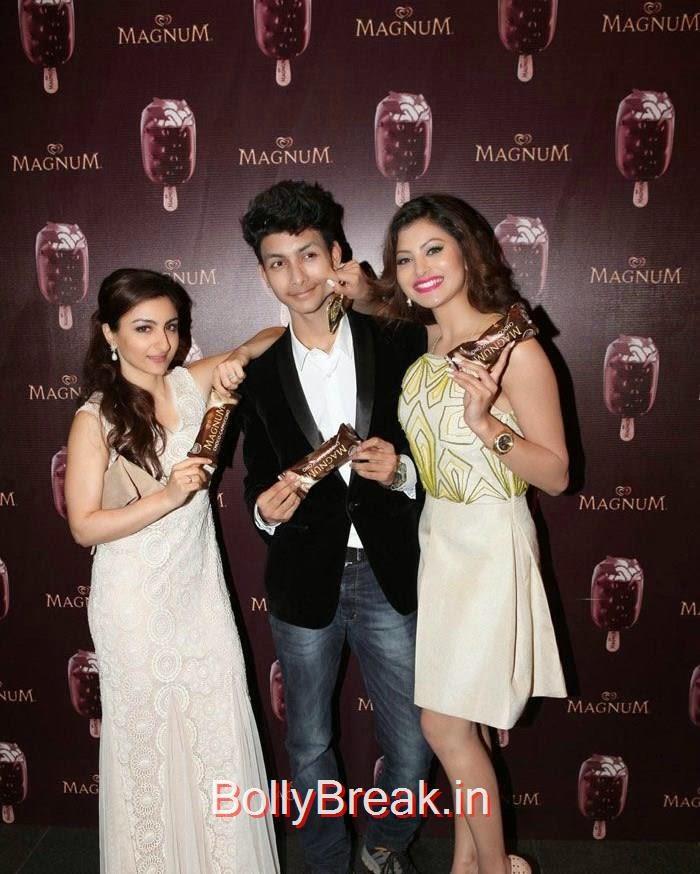 Soha Ali Khan, Urvashi Rautela, Urvashi Rautela,Sana Khan, Soha Ali Khan, Magnum's Choco Cappuccino flavour Icecream Launch