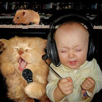 the cute baby wallpaper: cute baby listen music with ...