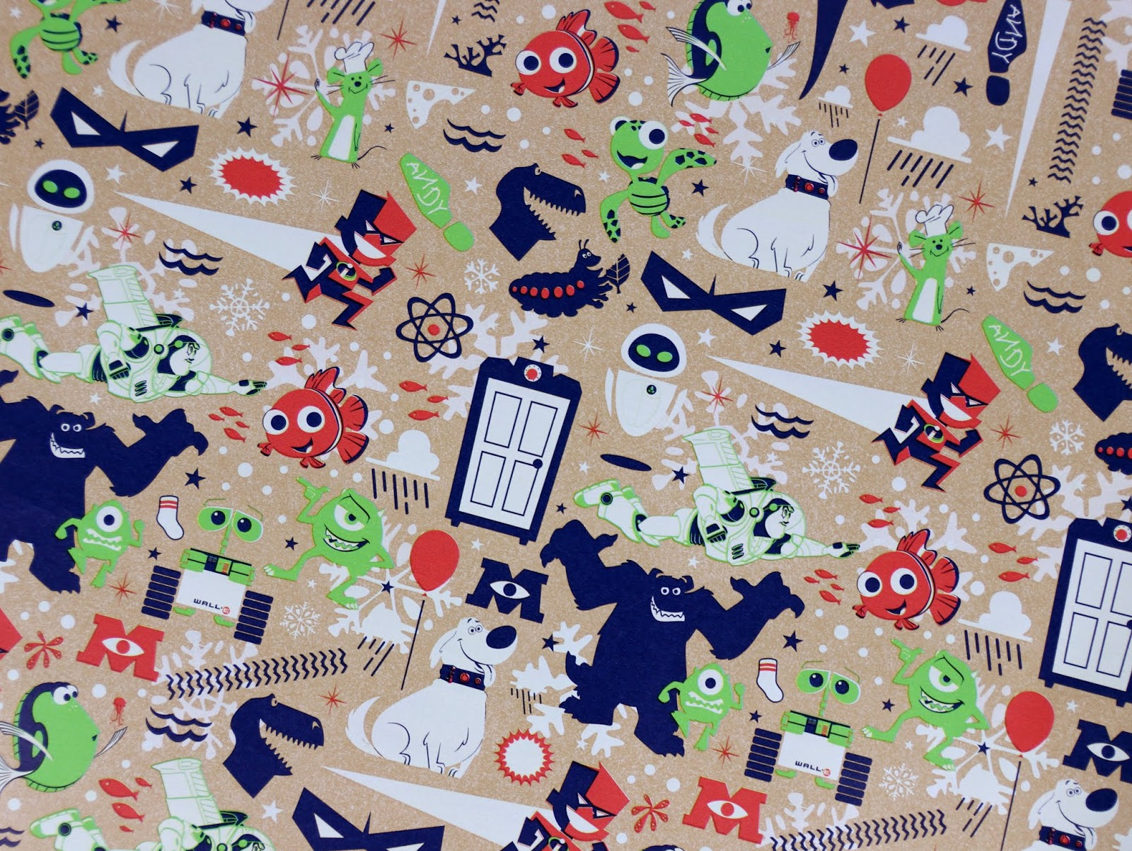 pixar christmas wrapping paper
