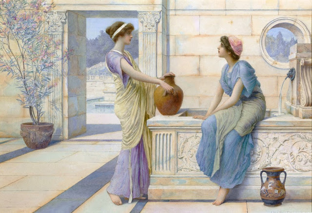 Two Women of Ancient Greece Filling Their Water Jugs at a Fountain (women of Corinth) Painting by Henry Ryland
