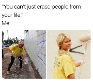 paris hilton funny, erase people from your life, painting a wall