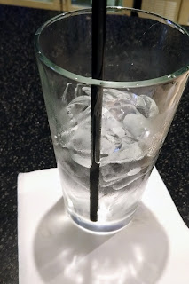 clean, cold water with ice and a straw