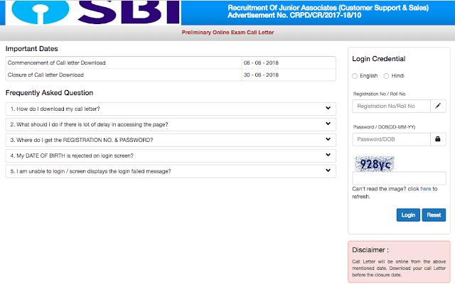 SBI Clerk 2018 | Admit Card Released -Download Now
