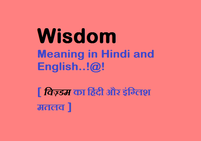 Wisdom Meaning in Hindi and English