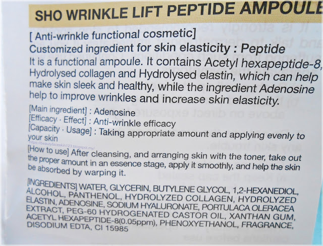 Sho anti wrinkle lift peptide ampoule