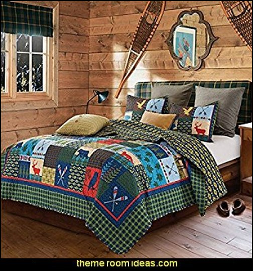 Lake & Lodge Rustic Patchwork Printed Quilt Set   Cabin decor - bear decor - camping in the northwoods style - Antler decor - log cabin boys theme bedroom - Cabin Bedding