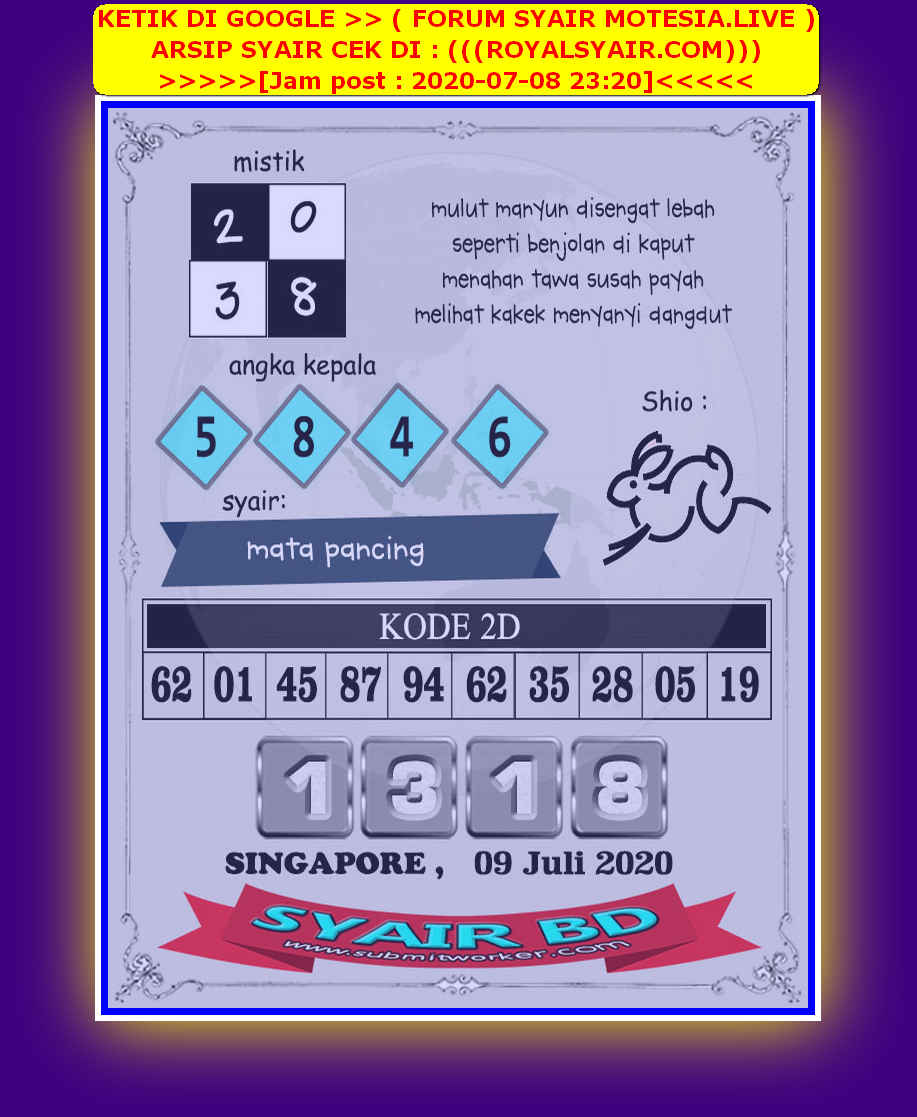 Kode syair Singapore Kamis 9 Juli 2020 229