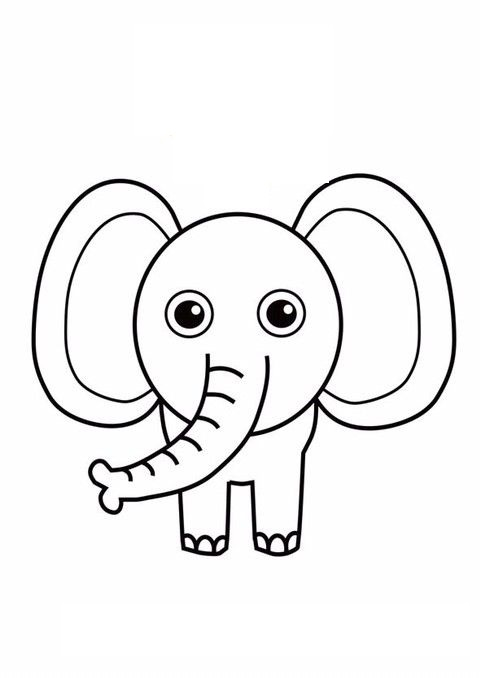 Tranh tô màu con voi đơn giản