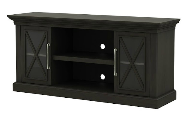 Black TV console with X doors