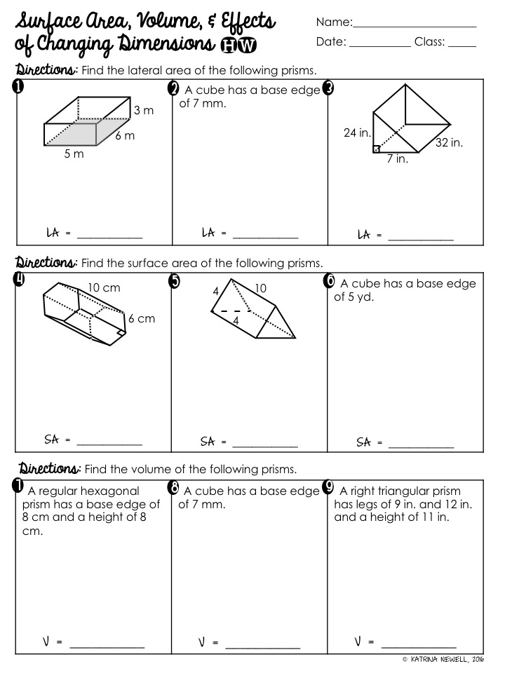 Surface Area Volume of Prisms Unit Mrs Newells Math – Surface Area of a Sphere Worksheet