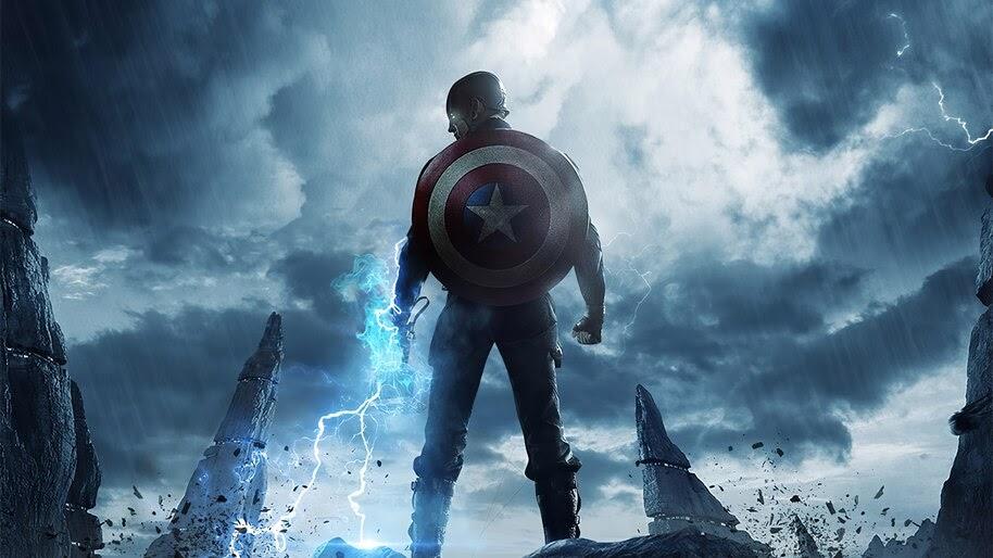 Captain America, Mjolnir, Hammer, Lightning, 4K, #6.1154