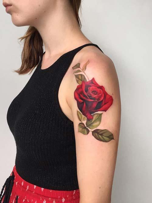 rose tattoo epaule omuz gül dövmesi bayan