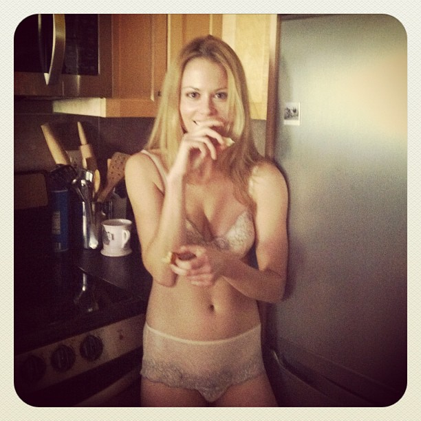 Claire coffee topless