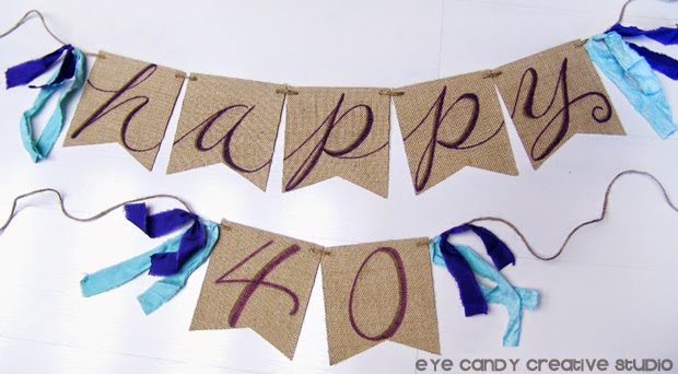 birthday banner on burlap, burlap banner hand lettered for birthday