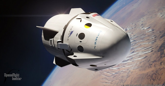 An artist's rendering of a Crew Dragon in orbit. After SpaceX is certified to send a crew to the International Space Station, it will send two paying customers to fly around the Moon. This is expected to occur in late 2018. Image Credit: Nathan Koga / SpaceFlight Insider
