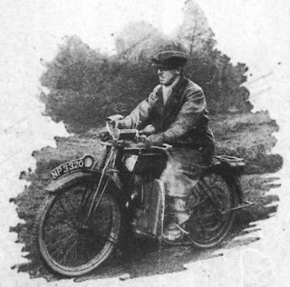 Magazine photo of rider on 1924 Royal Enfield motorcycle.