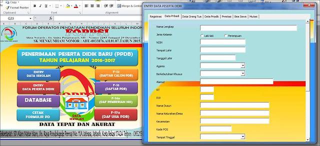Kolom Data Siswa Aplikasi PPDB Format Excel FOPPSI Kabupaten Garut