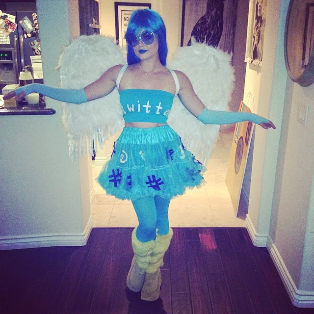 Lucy Hale as Twitter Bird for Halloween