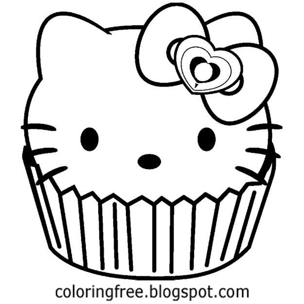 Free Simple Black And White Cat Image Party Time Cup Cake Hello Kitty  Pictures To Color