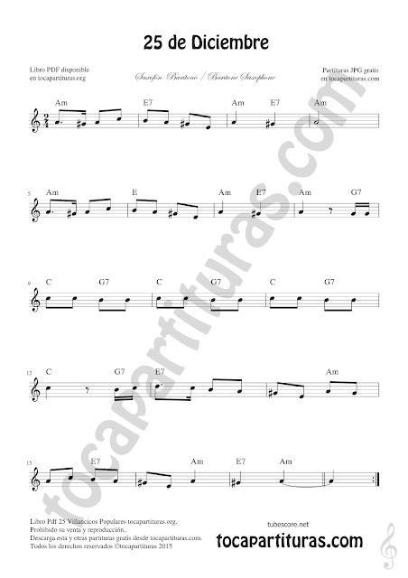 Saxofón Barítono Partitura de 25 de Diciembre Villancico de Navidad Sheet Music for Baritone Saxophone Christmas Carol Music Scores