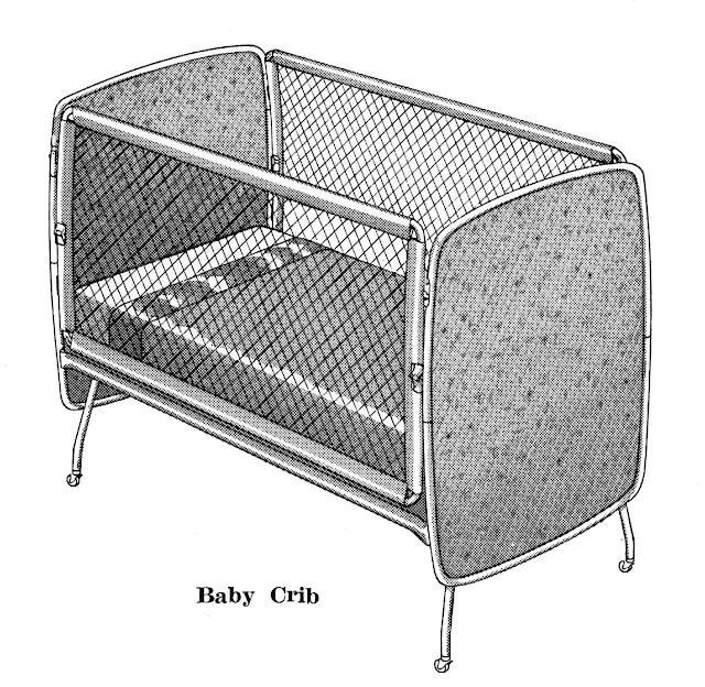 an illustration of a stylish 1960 baby crib