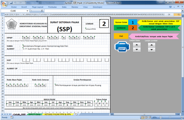 Aplikasi SSP (Surat Setoran Pajak) Laporan Dana BOS - Microsoft Excel