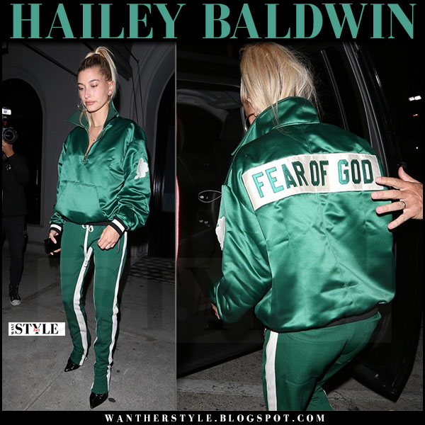 Hailey Baldwin in green satin tracksuit fear of god streetstyle what she wore june 2 2017