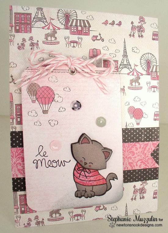French Kitty Valentine Card by Stephanie Muzzulin  Newton's Nook Designs   Newton Dreams of Paris Stamp Set