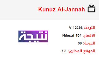 تردد قناة كنوز الجنة Kunuz Al Jannah الجديد 2018 على النايل سات