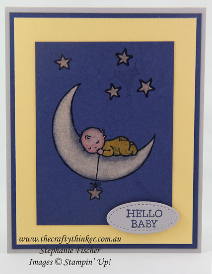 www.thecraftythinker.com.au, Moon Baby, baby card, bleaching technique, #thecraftythinker, Stampin Up Australia Demonstrator, Stephanie Fischer, Sydney NSW
