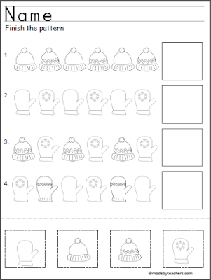 Free Winter Cut and Paste Pattern Worksheet